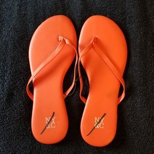 NY & C Orange Sandals Slip On Flat Size 8 New